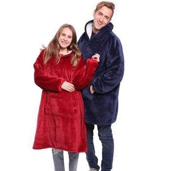 Winter Warm TV Pocket Hooded Blankets Adults Bathrobe Sofa Cozy Blanket Sweatshirt Plush Coral Fleece Blankets Outwears