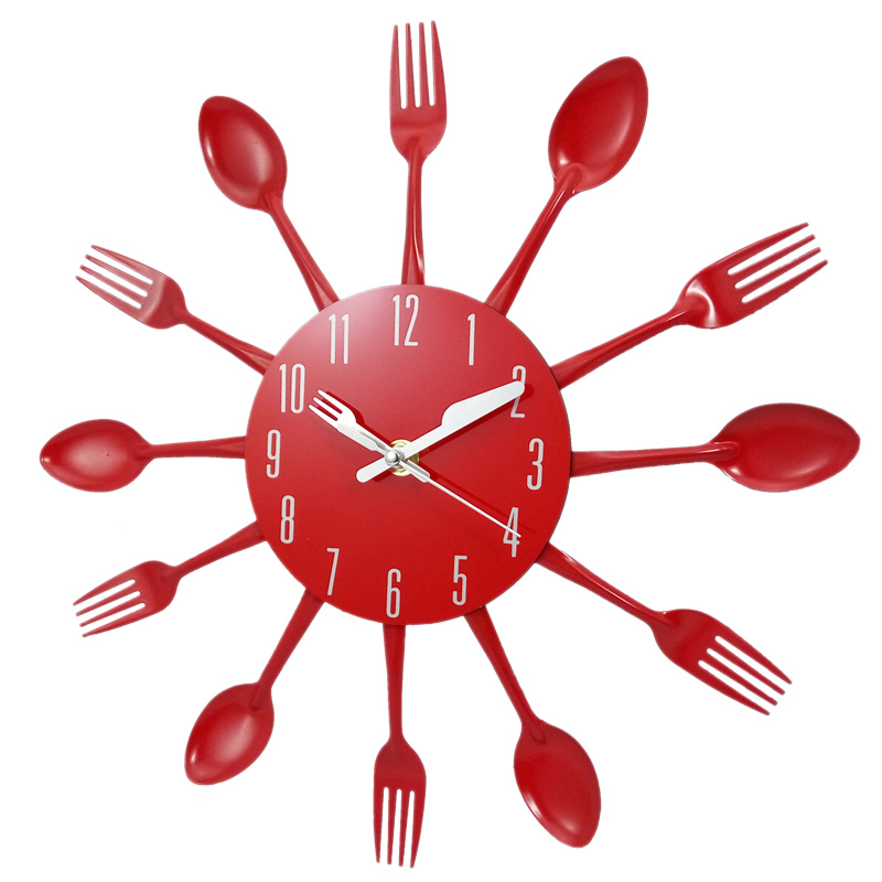 Home Decorations Noiseless Stainless Steel Cutlery Clocks Knife And Fork Spoon Wall Clock Kitchen Restaurant Home Decor Red