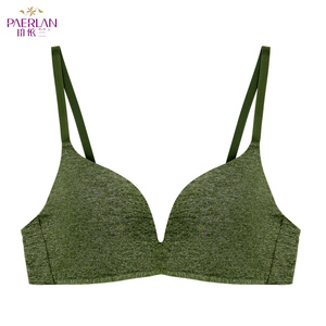 Image 2 - PAERLAN bez fiszbin wygodne małe piersi Push Up 3/4 szklanki biustonosz codzienny prosty styl jednoczęściowy zielony Lycra bielizna kobiet