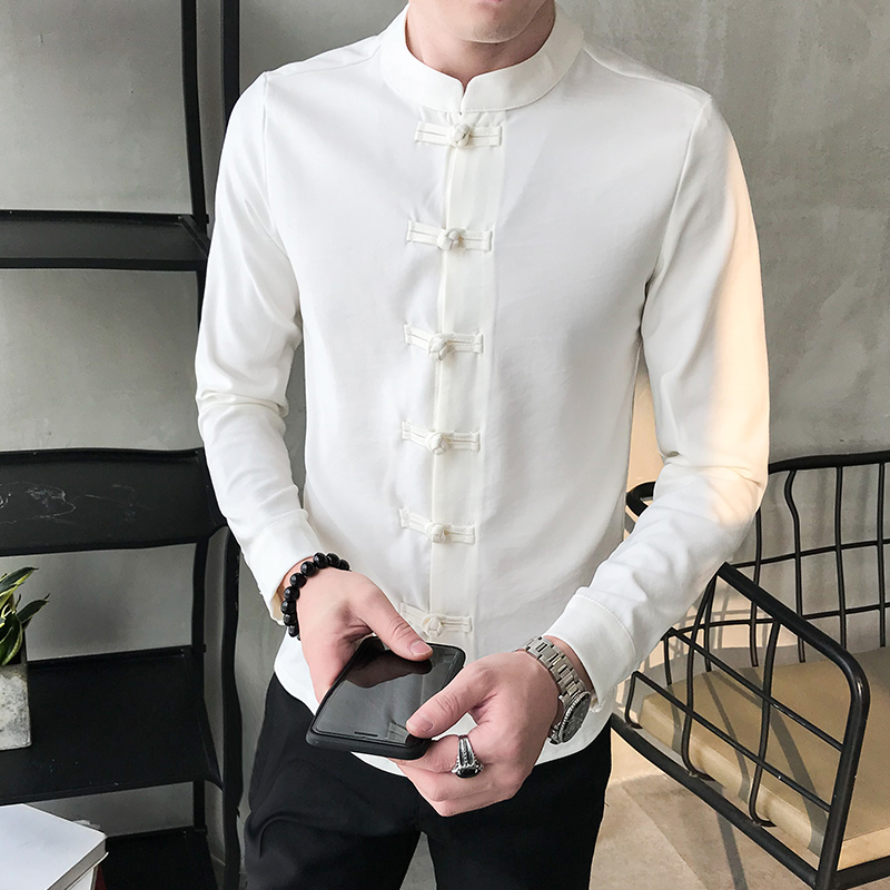 2019 Chinese Style Men Shirts Solid O-neck Long Sleeve Cotton Linen Vintage Shirt Casual Thin Fitness Camisa Masculina S-6XL