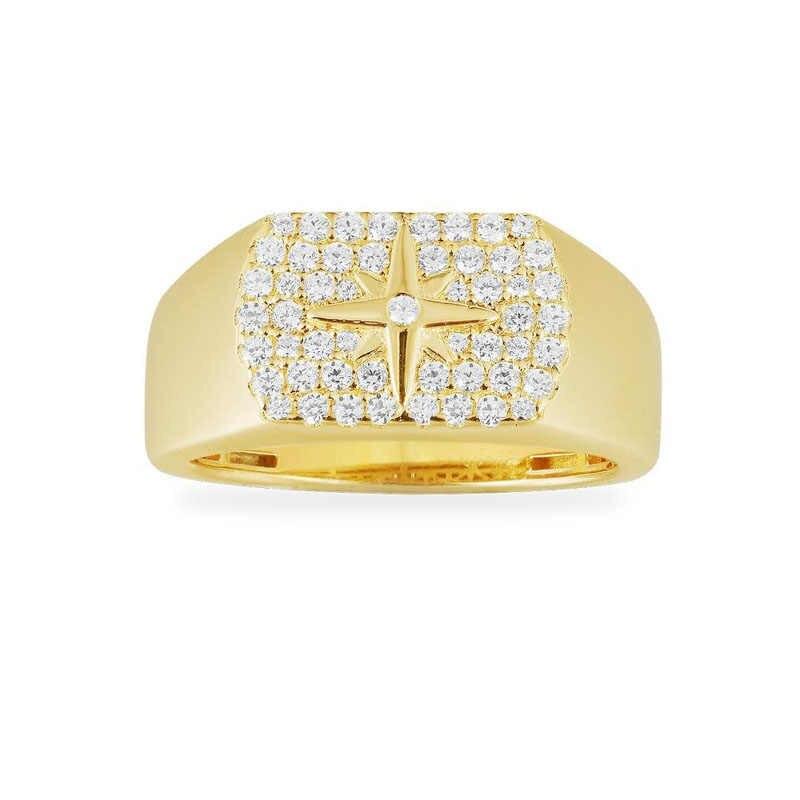 Унисекс Настоящее серебро 925 проба желтого золота Цвет метеорит звезда палец кольцо микро кубического циркония для женщин мужчин модные ювелирные изделия