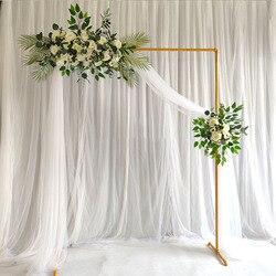 Marco de arco de boda Marco de hierro forjado flor soporte personalizado hogar fiesta de cumpleaños Fondo pared decorativo estante oro blanco