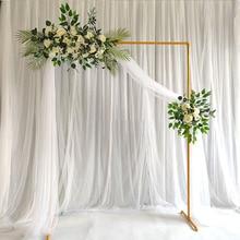 חתונה קשת רקע מסגרת ברזל יצוק פרח Stand Custom בית יום הולדת מסיבת רקע קיר דקורטיבי מדף זהב לבן