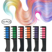 10Pcs/Set Temporary Hair Pro Mini Chalks Crayons 10 Colors For For Hair Multicolor Dye Hair Dye Comb Hair Care Styling Tool