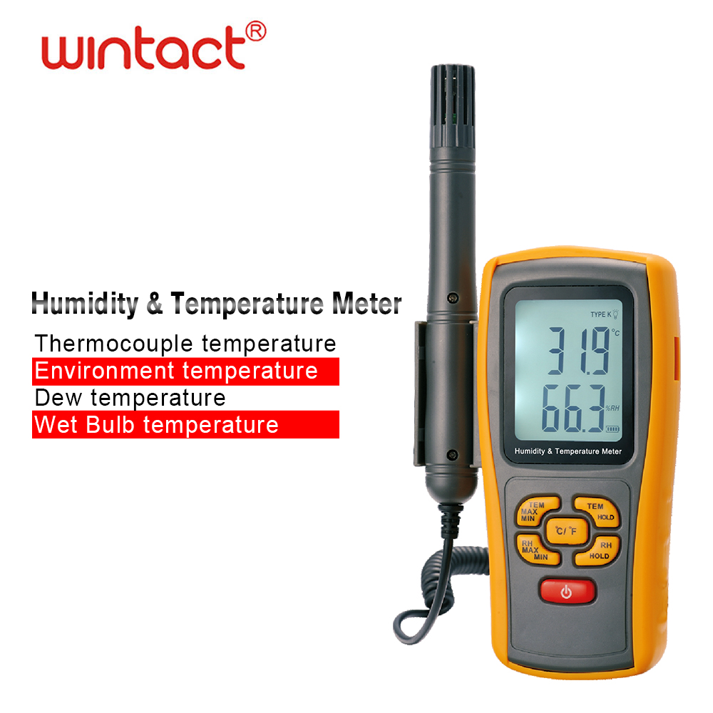 Digitale Psychrometer <font><b>Thermo</b></font>-Hygrometer mit <font><b>K</b></font> Typ thermoelement Taupunkt und Nass Birne Temperatur Hygrometer image