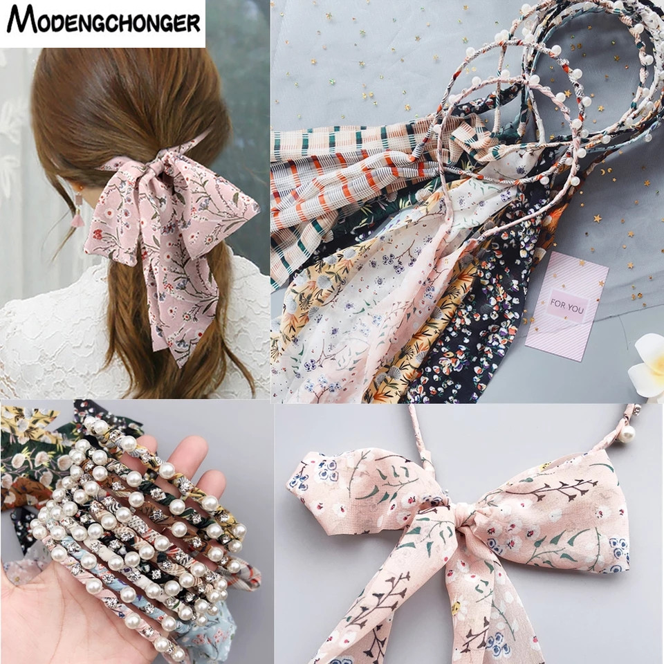 1 PCS Fashion Woman Printed Satin Hairband Ribbon Bow Pearl Hairband Girls Hair Accessories Hairstyle Hair Hoop Headband Feman