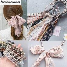 1 PCS Fashion Woman Printed Satin Hairband Ribbon Bow Pearl Hairband Girls Hair Accessories Hairstyle Hair Hoop Headband Feman