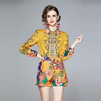 Summer Autumn Retro 2 Piece Set Women Shorts And Top Designer Runway Two Piece Sets Print Vintage Shirt Short Suits 1
