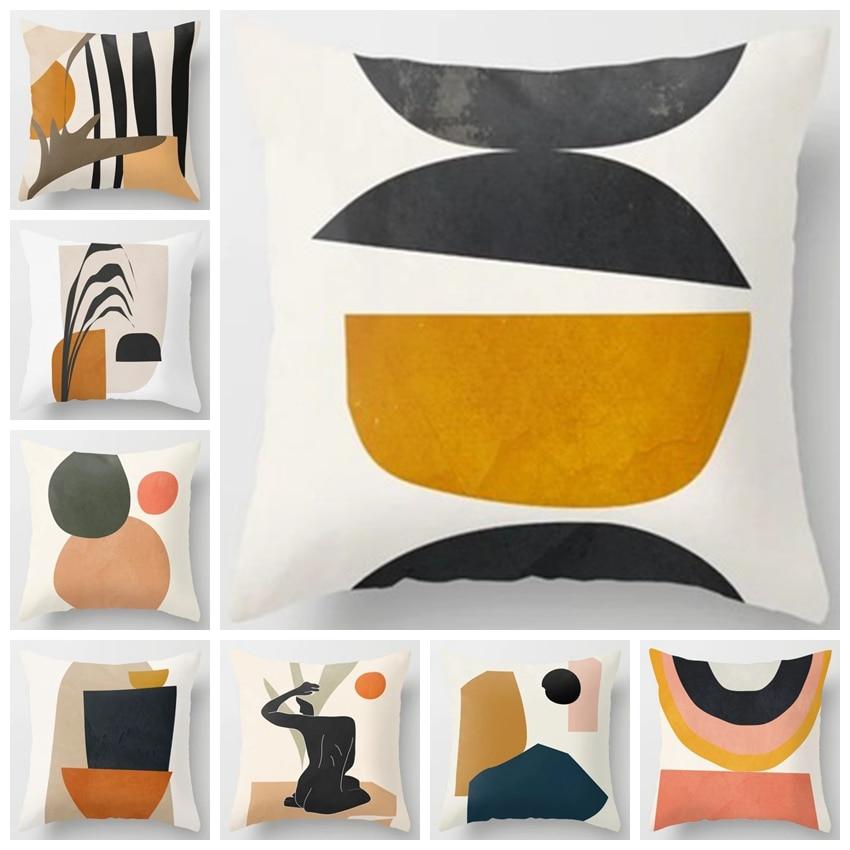 ZENGA Geometric Abstract Cushion Cover Tropic Modern Art Brown Throw Pillow Cover Double Side Print Decorative Cushion For Sofa