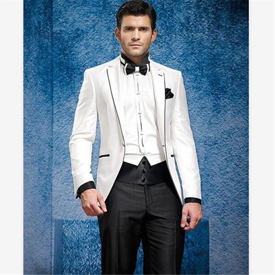 New Classic Men's Suit Smolking Noivo Terno Slim Fit Easculino Evening Suits For Men White Jacket Black Pants Groom Tuxedos Wedd