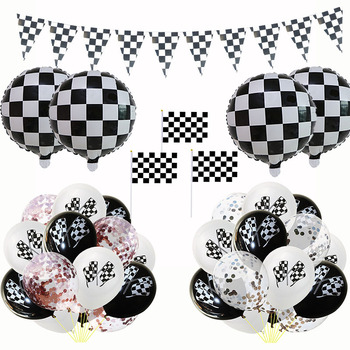 Racing Party Track Car Finish Line Black White Flag Balloons Party String Banner for Decoration Birthdays Festival Supplies image