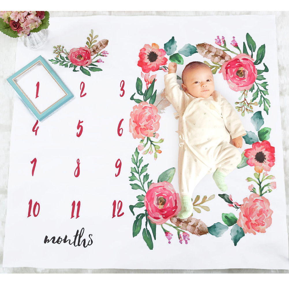 Blanket Background Boys Girls Monthly Growth Cute Photography Newborn Flowers Stroller Covers Photo Props