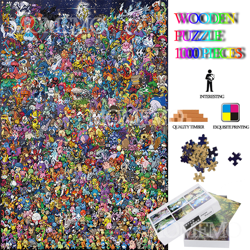 Pocket Monster Collection Puzzle 1000 Pieces Cartoon Anime Wooden Jigsaw Puzzles Toys For Adults DIY Assembly Wooden Puzzles