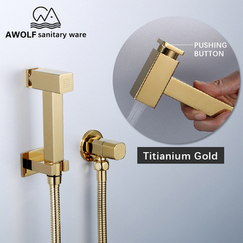 цена на Douche Kit Toilet Shattaf Hand Held Bidet Sprayer Solid Brass Titianium Gold Square Shower Set With Pushing Button AP2200