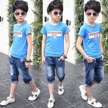 Детские комплекты хлопковая Футболка и джинсовые шорты до колена