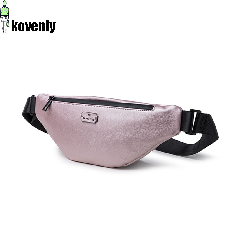 Casual Pure Color Women Messenger Bag PU Leather Girls Casual Shoulder Packs Female Small Waist Bag Fanny Pack Banane Bum Beg