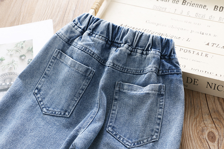 Babyinstar 2020 New Arrival  Blue Jeans For Kids Pearl Design Kids Fashion Style Denim Pants Toddler Girls Loose Trousers