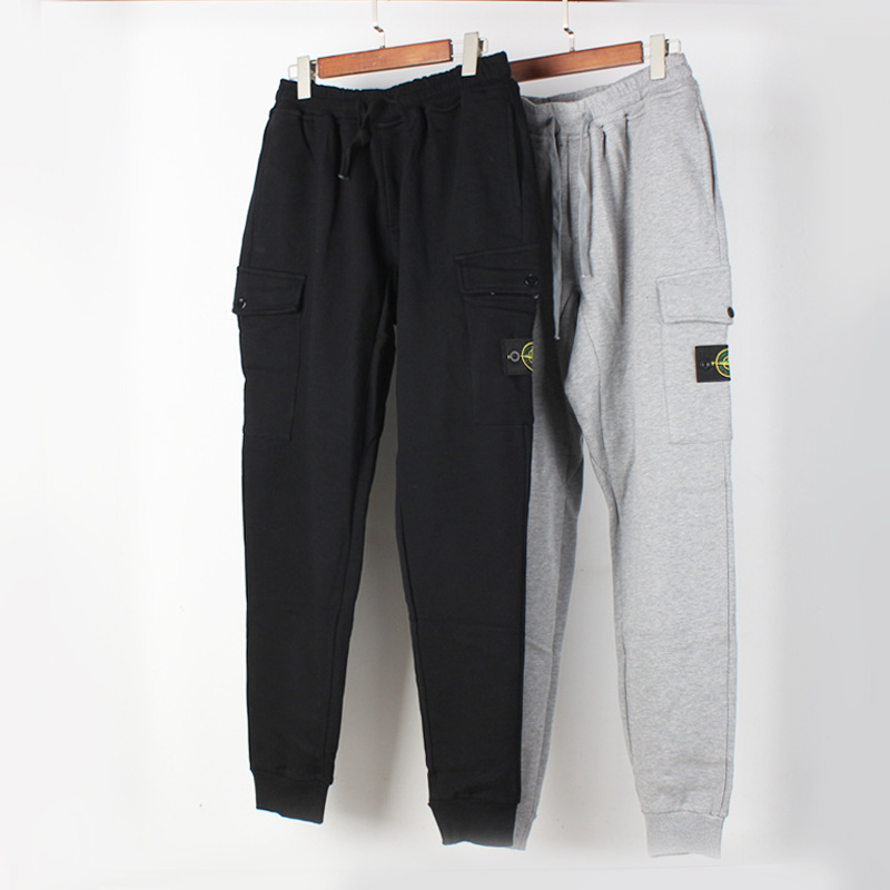 New Style Men And Women-Stone Island Evergreen-Base Side Label Thin Pocket Long Sweatpants