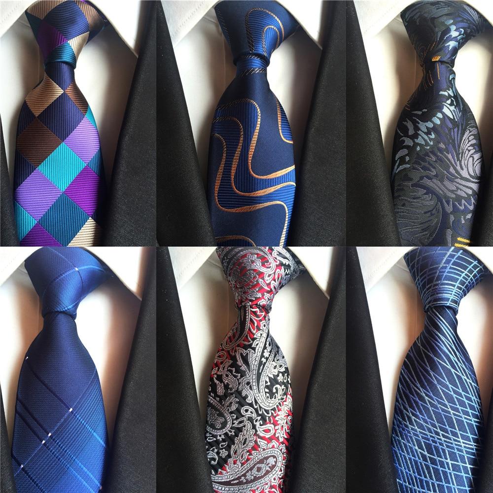 2020 New Blue Grey Green Silk Ties For Men Necktie Classic Plaid Paisley Design Mens Wedding Neckties 8cm Business Neck Tie A014