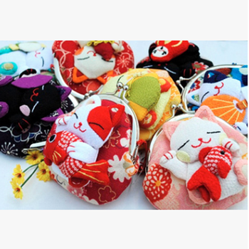 1 pc Japanese style,Lucky Cat Coin Purse Coin Bags Zero Wallet Japanese Kimono Fabric Coin Bag Cute Gift tangimp stripes cotton wristlets bags japanese style handbags linen tote simple coin purse for gift original big capacity 2018