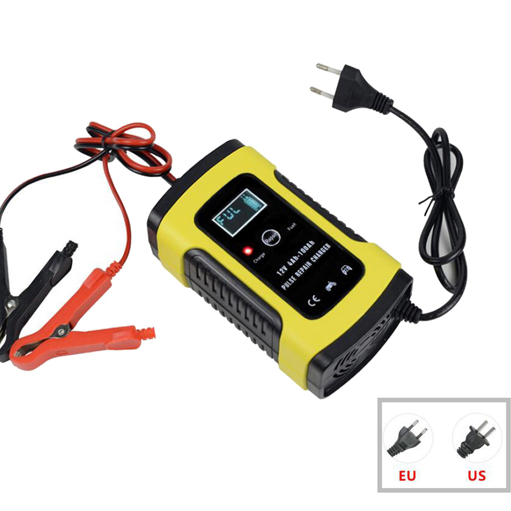 12V 6A Intelligent Car Motorcycle Battery Charger For Auto Moto Lead Acid AGM Gel VRLA Smart Charging 6A 12V Digital LCD Display(China)