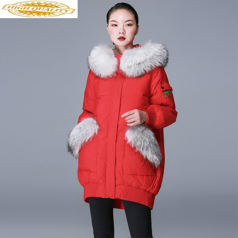 Winter 90% White Duck Down Jacket Women Long Coat Fox Fur Collar Hooded Korean Puffy Warm Down Coats And Jackets 8841256 KJ2630