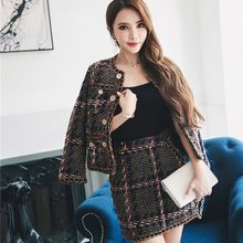 2020 Herfst Winter Tweed 2 Delige Set Vrouwen Met Lange Mouwen Jas + Slim Rokken Party Office Lady Kwasten Pak retro Vrouwelijke Sets(China)