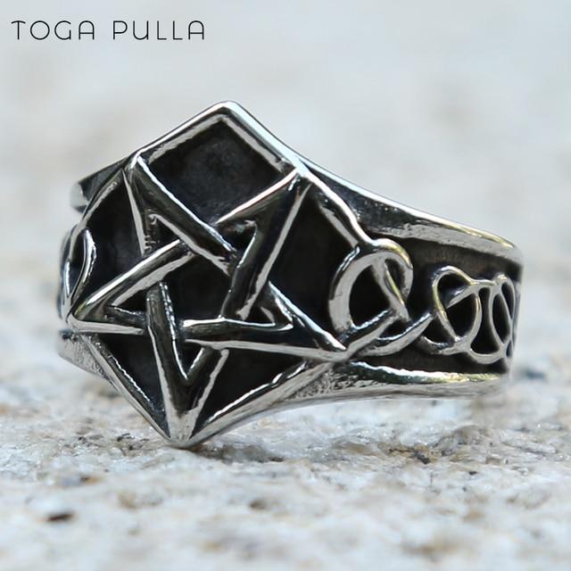 Vintage Pagan Pentagram gwiazda pierścienie męskie kobiety Celtics węzeł Gothic Punk Rock Rings moda biżuteria dla rowerzystów prezent