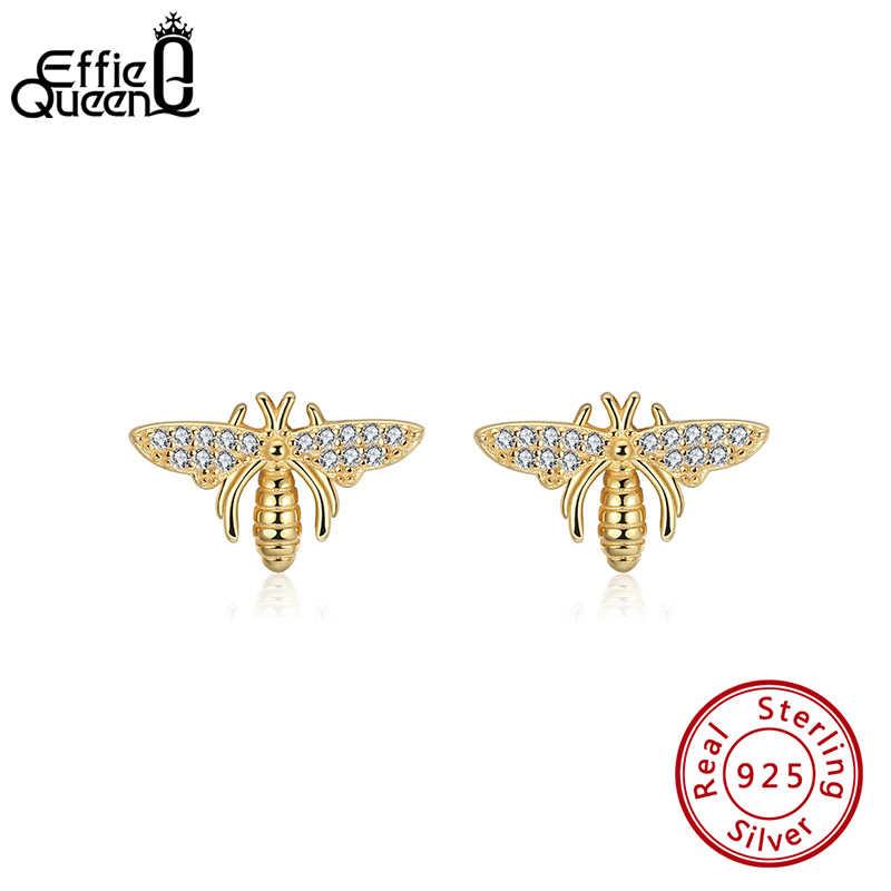 أقراط إيفي ملكة الحيوان 925 أقراط صغيرة فضية مع شكل نحلة صغيرة أقراط من الزركون AAAA مجوهرات هدايا حفلات الزفاف BE280
