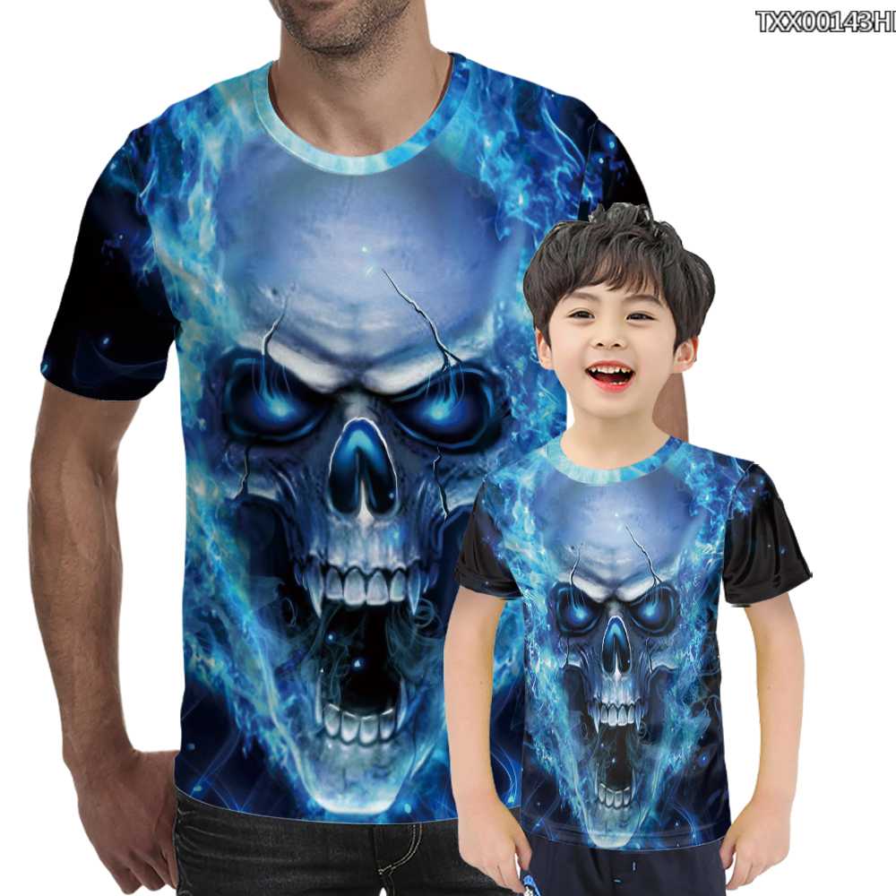 Summer New Oversized 3D T-Shirt European And American Fashion Red Blue Black White Flame Printing Skull Men Women Large T Shirt