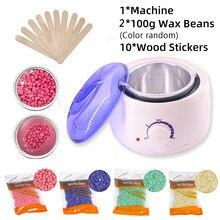 Cera de imersão pote depilação máquina de cera aquecedor 200g feijão de cera 10 pçs adesivos de madeira kit depilação cera depilatória cera