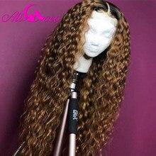 Ali Coco 1B 27 kręcone ludzkie włosy koronki przodu peruki 150% 99J/1B bordowy kolor Ombre 13x4x1 brazylijski Remy Curl peruki wstępnie oskubane