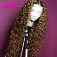Ali Coco 1B 27 Curly Human Hair Lace Front Wigs 150% 99J/1B Burgundy Ombre Color Brazilian Remy Curl Wigs Pre Plucked
