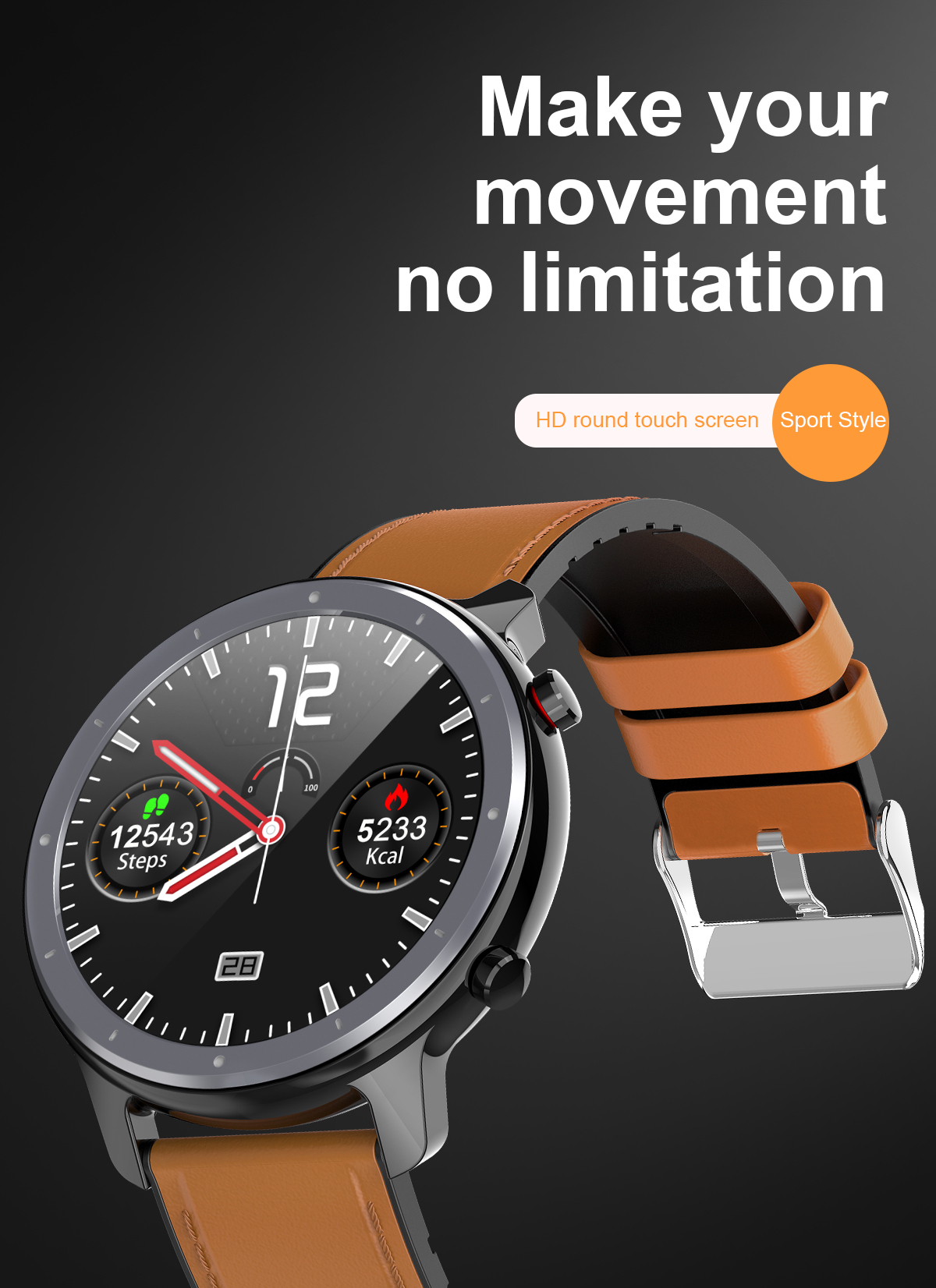 Hf5ed966346da4b2fa5bd223f90cff9f6t LEMFO 2020 Smart Watch Men Full Touch Screen  IP68