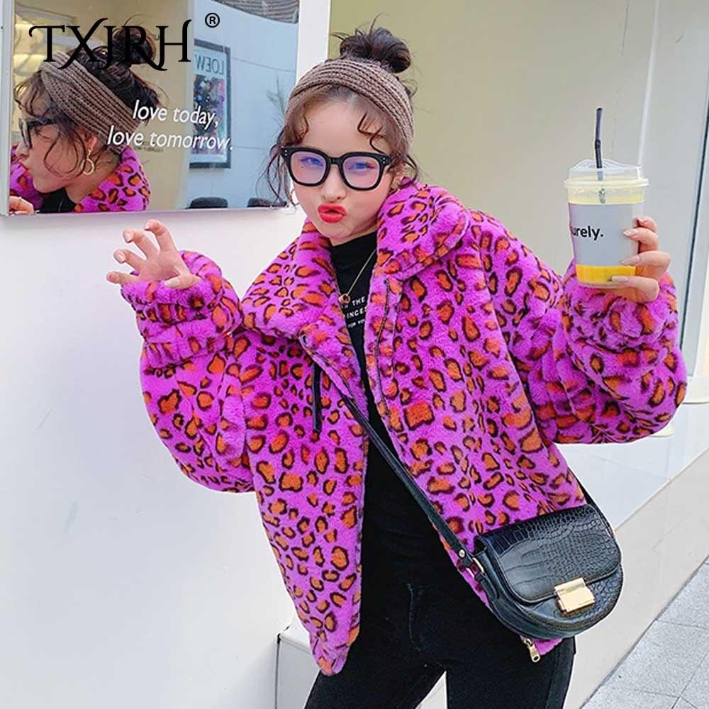 TXJRH 2019 лацкан пушистое меховое разноцветное фиолетовое леопардовое искусственное пушистый кролик пальто с мехом длинный рукав молния Женская куртка Верхняя одежда Топы