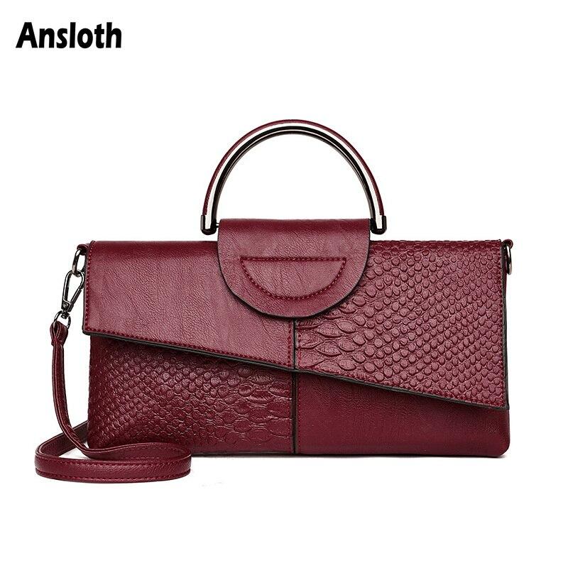 Ansloth PU Leather Serpentine Shoulder Bags For Women Clutch Bag Patchwork Messenger Bag Female Wallet Phone Bags Vintage HPS865