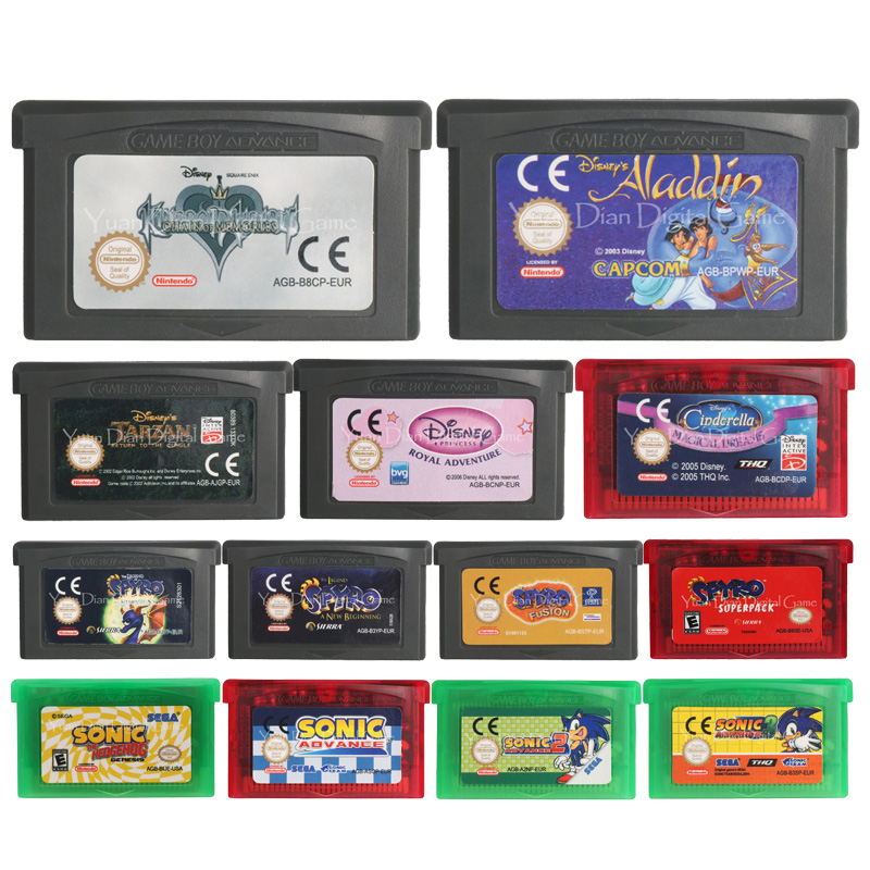 32 Bit Video Game Cartridge Console Card Spyro/Sonic Series US/EU Version For Nintendo GBA