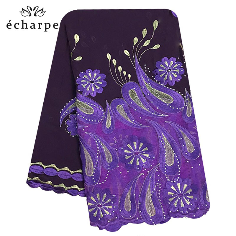 African Mulim Women Hijab Scarf, Embroidery Chiffon Shawl. Splice Tulle Material Big Size Scarf For Shawls EC194