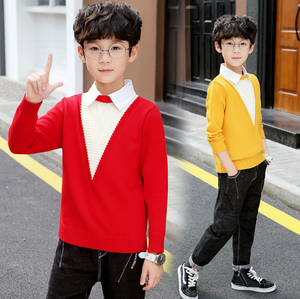 Image 2 - Boys Sweaters Autumn Winter Pullovers Sweater Kids Clothes Children Clothing Warm Outwear Boys Sweaters Teen Casual Costume