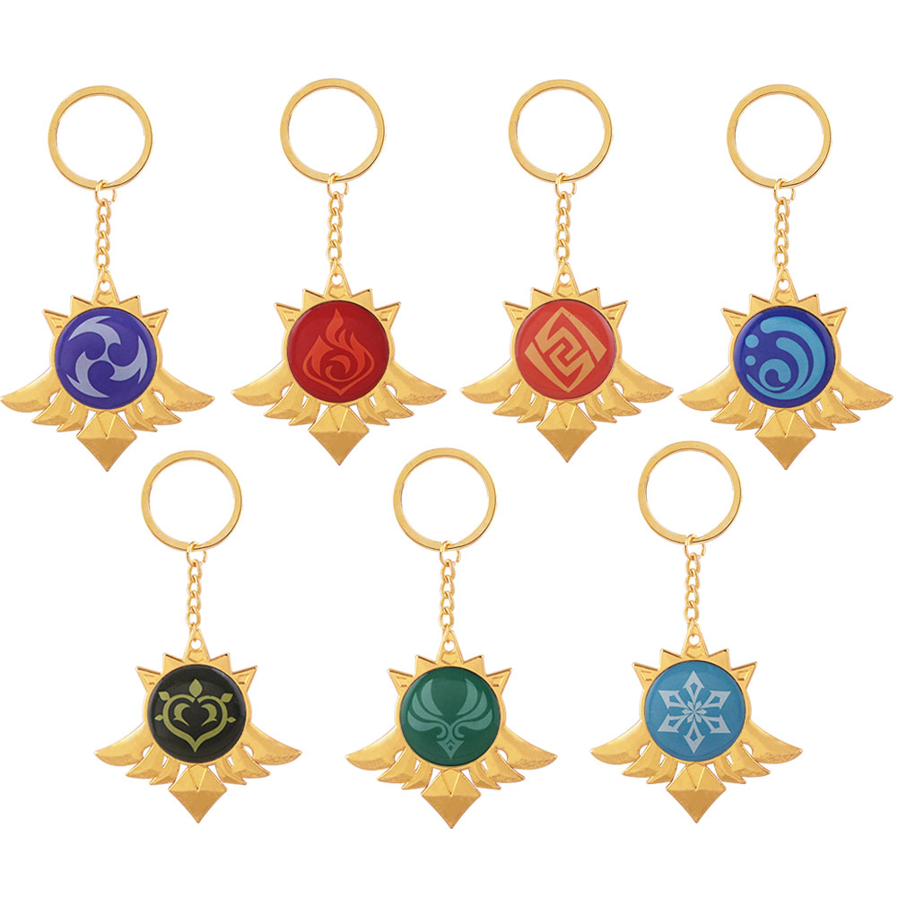 Лидер продаж, металлические украшения для игр, брелки для ключей Genshin Impact Cosplay, 7 элементов, оружие, глаз Бога, аксессуары, детские игрушки, под...