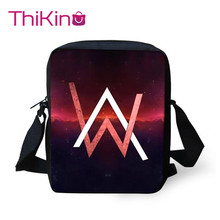 Thikin Shoulder Bags for Children Cool DJ Alan Walker Messenger Bag Boys Crossbody Phone Kids Shopping
