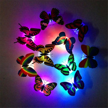 Romantic Glow Butterfly Small Night Light Paste Led Holiday Party Bedroom Home Decoration Lamp Wedding Surprise Arranging Decor недорого
