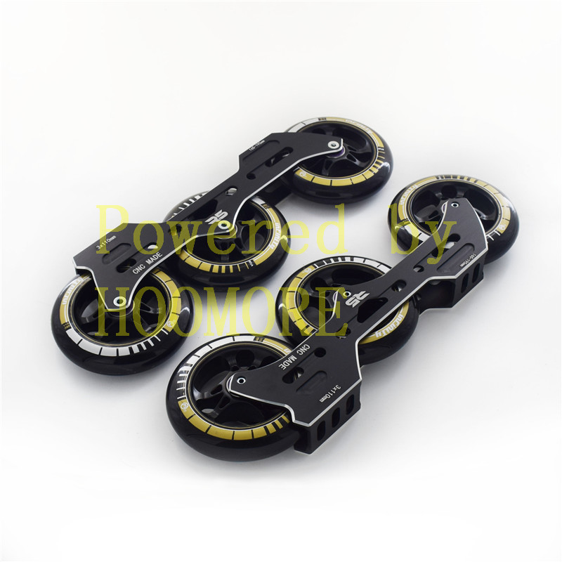 1 Pair R5 3*110mm Speed Base CT Black 110mm Inline Speed Skates Wheel ILQ11 High Speed Skating Bearing Flexible Road Tyre For PS