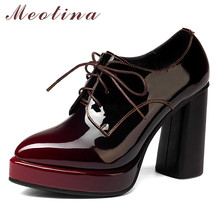 Meotina High Heels Women Pumps Natural Genuine Leather Chunky High Heel Shoes Cow Leather Pointed Toe Shoes Lady Plus Size 33-43 cocoafoal woman green high heels shoes plus size 33 43 sexy stiletto red wedding shoes genuine leather pointed toe pumps 2018