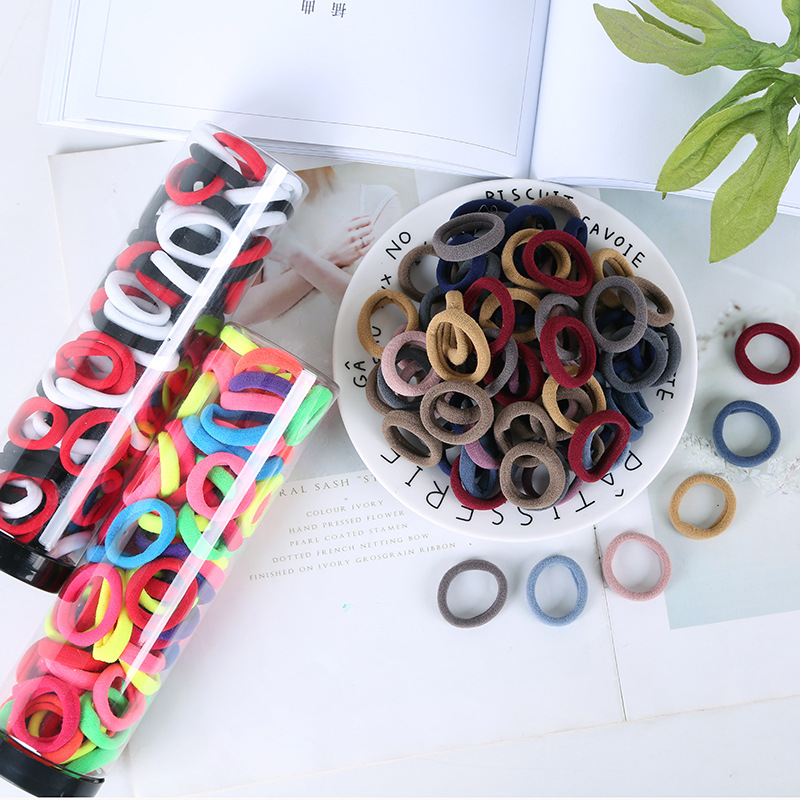 100 Pcs/set Korea Simple Color Hair Rope for Child Girl Fashion High-elastic Seamless Rubber Band Accessories Wholesale