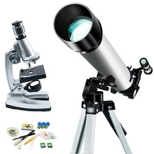 Refractor Astronomical Telescope &1200X Kids Microscope Set Kids Science Learning Kid Present Educational Toy  Children DIY Kit wnnideo 90x portable astronomical refractor tabletop telescope 360x50mm for kids sky star gazing
