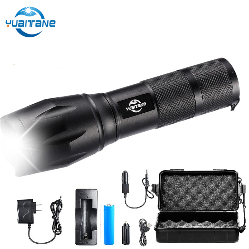 Купить с кэшбэком 10000 Lumens Led Rechargeable Flashlight Ultra Bright V6 Flashlights Camping light 5Modes Zoomable linterna use 18650 battery