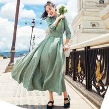 Осень Зима Новое поступление высокое качество модное однотонное женское длинное вельветовое платье со стоячим воротником