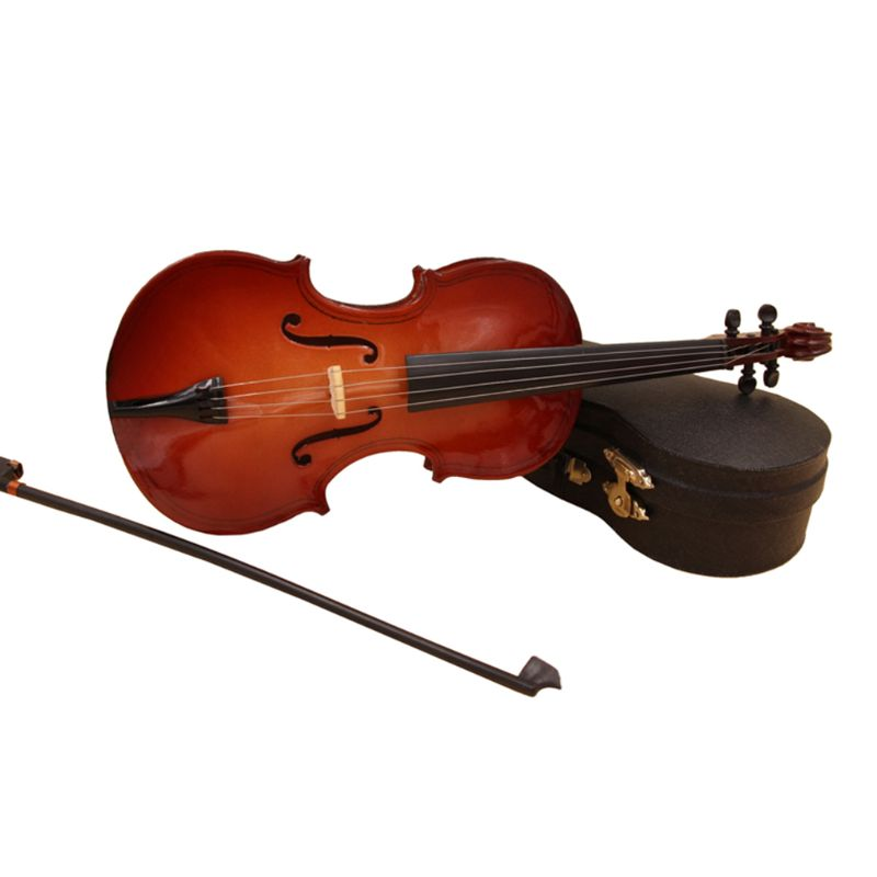 10cm Mini Violin Model Replica with Bow Stand Case Christmas Gift Music Ornament High Quality and Brand New image