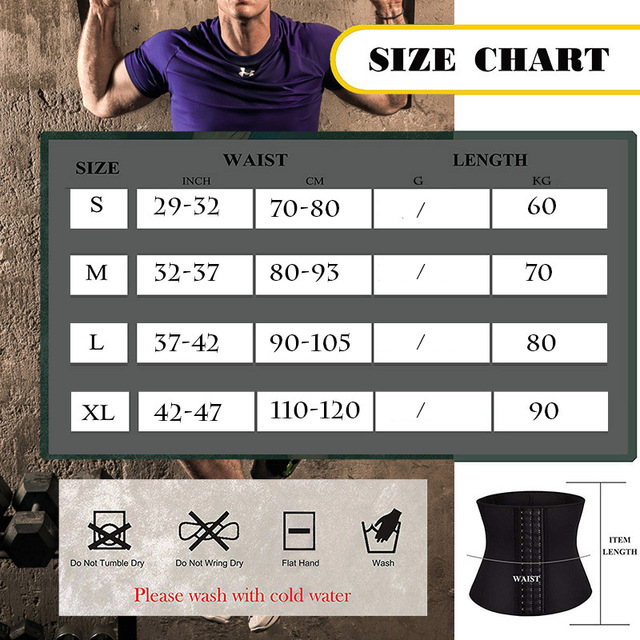 Waist Trimmer Men Waist Trainer for Weight Loss Sweat Belt Belly Fat Slimming Stomach Band Back Support Neoprene Corset Shaper